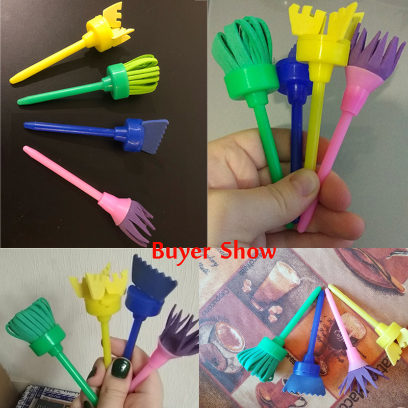 Learning & Education Drawing Toys 4pcs Rotate Spin Paint Drawing Sponge Brushes Kids Diy Flower Sponge Art Graffiti Brushes Painting Tool Educational Toy High Quality