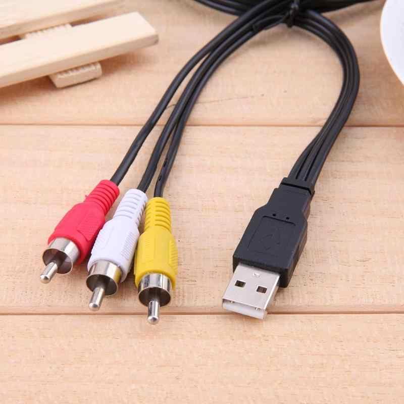 ALLOYSEED 1.5 メートル/5FT USB オス A に 3 RCA オスアダプタオーディオ変換ケーブルビデオの AV の A/ V ケーブル USB に Rca ケーブルコードハイビジョンテレビ