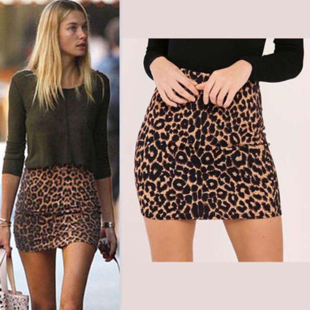 YOUYEDIAN Clothes Women's Leopard Printed Skirt High Waist Sexy Pencil Bodycon Hip Mini Skirt Faldas Mujer Moda Summer Skirt @4