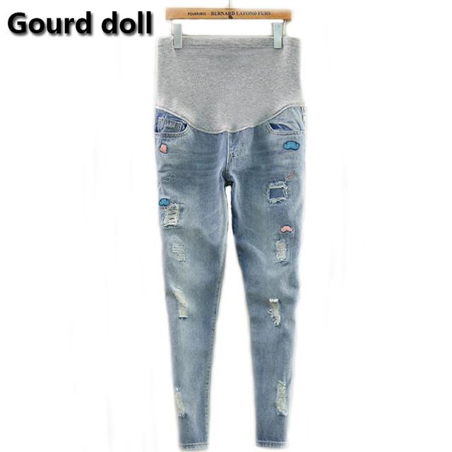 Gourd doll maternidade gravidez jeans macacões calças para mulheres grávidas cintura elástica calças de brim grávidas gravidez macacões roupas