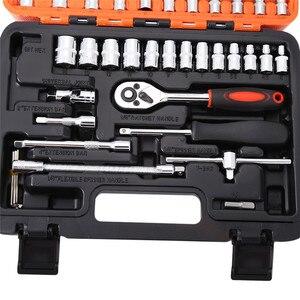 Image 4 - 53 stücke Automobil Motorrad Auto Repair Tool Box Präzision Ratsche Set Hülse Universal Joint Hardware Tool Kit Für Auto