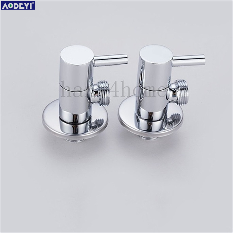 2 PCS 1/2male x 1/2 male Brass Bathroom Angle Stop Valve Chrome Copper Tap Toilet Bathroom Basin laundry