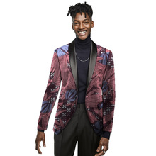 African Clothing Custom Made Ankara Blazer African Men Suit/Blazer Fashion Shawl Collar Men's Jacket Party Suit