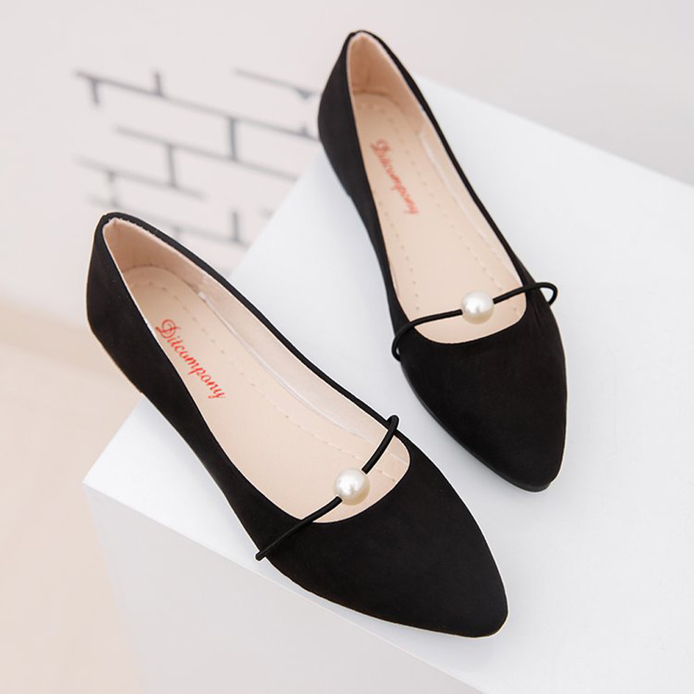 On-Shoes Pearl Heel Slip Suede Pointed Flat Women's New-Fashion Lady Solid Casual Office