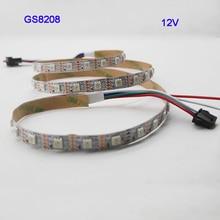 1m/3m/5m GS8208 smart pixel led strip 30/60/144 pixels/leds/m,WS2811 Updated,DC12V,IP30/IP65/IP67,Black/White PCB,5050 SMD RGB