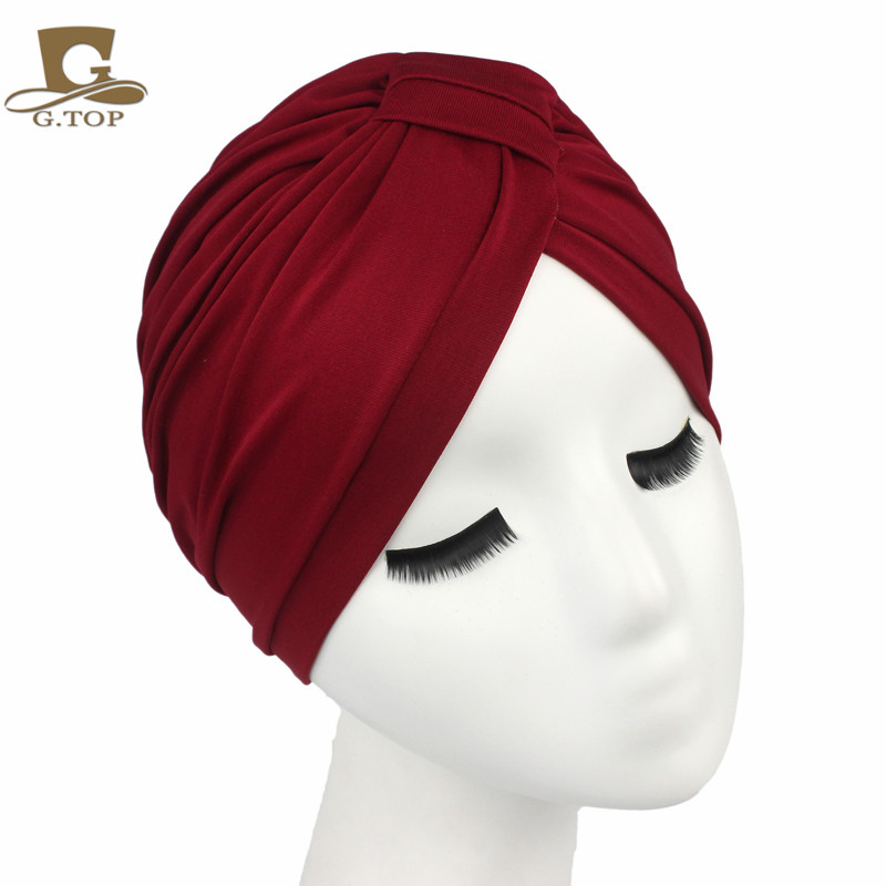 Free Shipping 2016 New Fashion Women Indian Stretchable Cotton Turban Hat Headband Wrap Chemo Bandana Hijab Pleated Indian Cap new fashion indian style velvet flapper jeweled brooch swomen turban headband ear warmer hat g 254