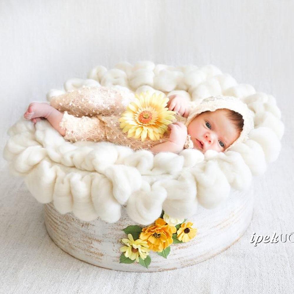 Handcraft Wool Soft Round Baby Diameter 50cm Newborn Photography Props Baby Photo Blanket BABY SHOWER GIFT wool felt cowboy hat stetson black 50cm
