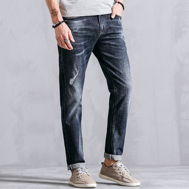 99% Cotton Distressed Skinny Male Denim Slim Fit Straight Casual Jeans Men Clothes Fashion Trousers For Mens Clothing