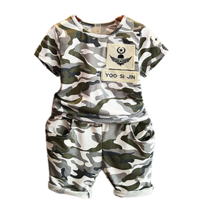 3-7T Camoflage Boys Clothing Sets Summer 2017 Kids Clothes Boys Sport Suit Casual Baby Boys Clothing Children Clothes for Boys