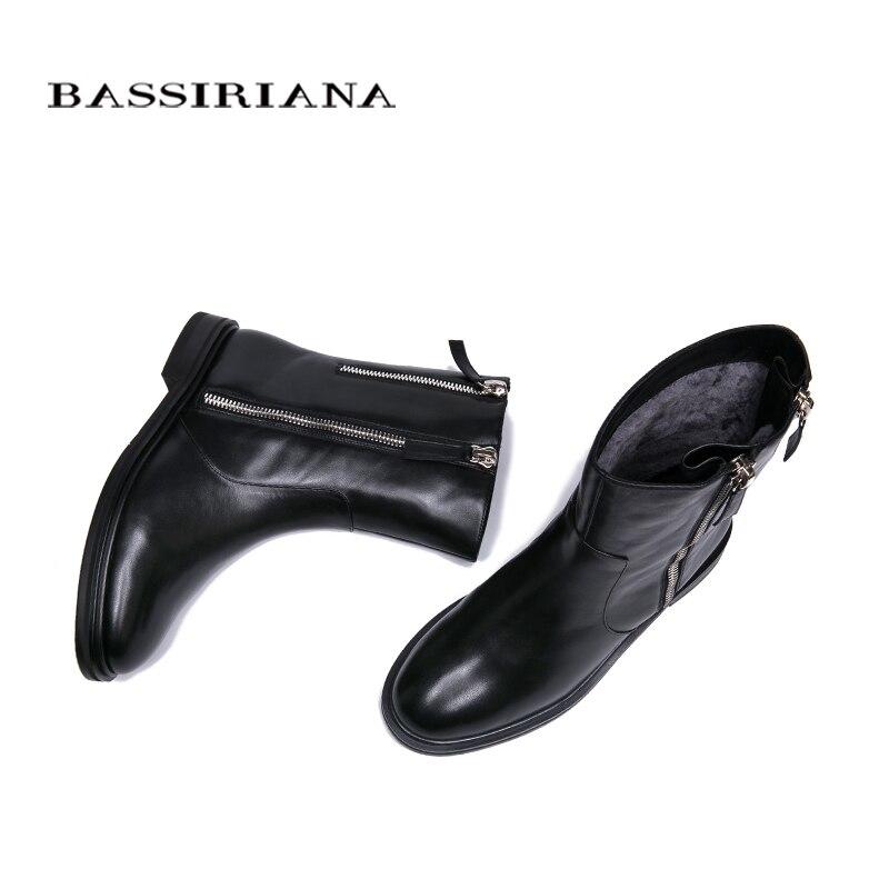 Bassiriana Black Invierno Las Mujeres 35 Alta Zapatos Gran De Calidad 40 Cuero Tamaño 2018 Botas Nuevo 1Z1qr