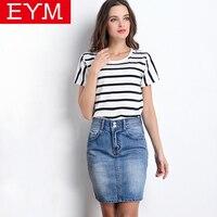 EYM 2016 Summer Style Women Mini Denim Skirts Sexy Womens Pockets Blue Breasted Denim A Line