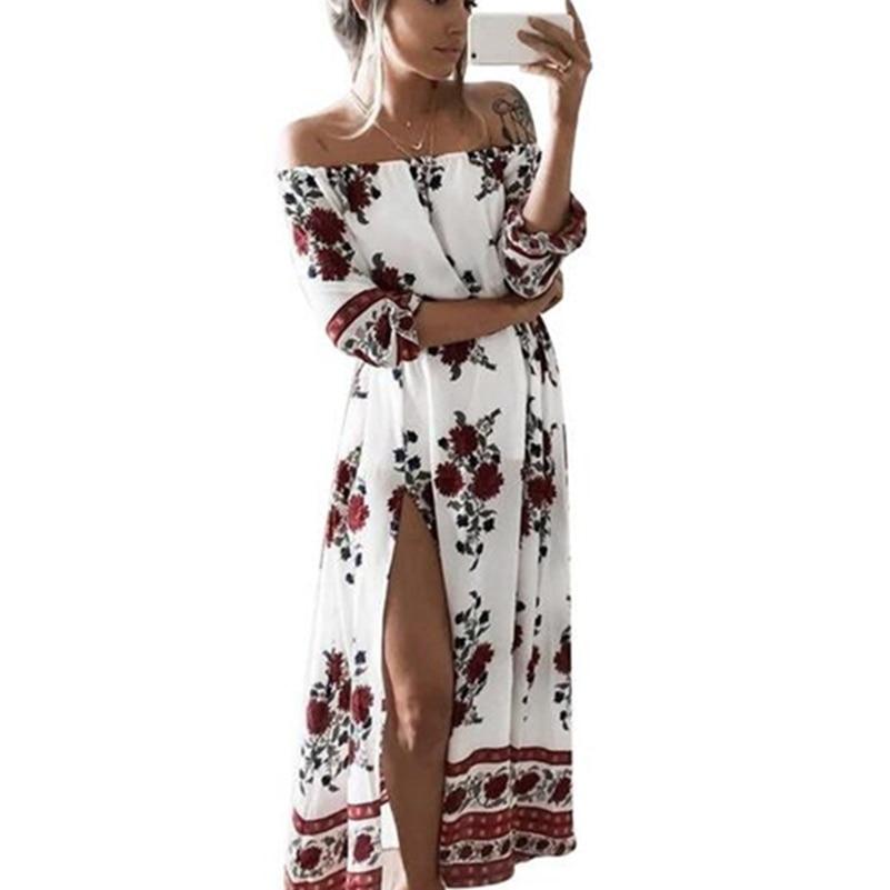 Floral Print Women Summer Long Boho Dress Casual Half Sleeve Slash Neck Loose Beach Maxi Chiffon Dress Plus Size Vestidos **