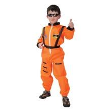 Kids Children Orange Astronaut Costumes for Boys Cosmonaut Pilot Spaceman Costume Uniform Halloween Purim Carnival Party Suit
