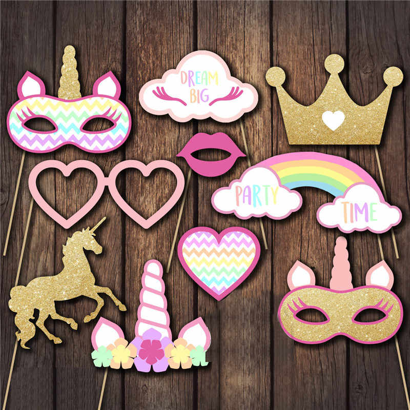 10PCS/ Set Unicorn Party Photo Booth Props Rainbow Unicorn First Baby Kids Birthday Photobooth Props Party Decoration