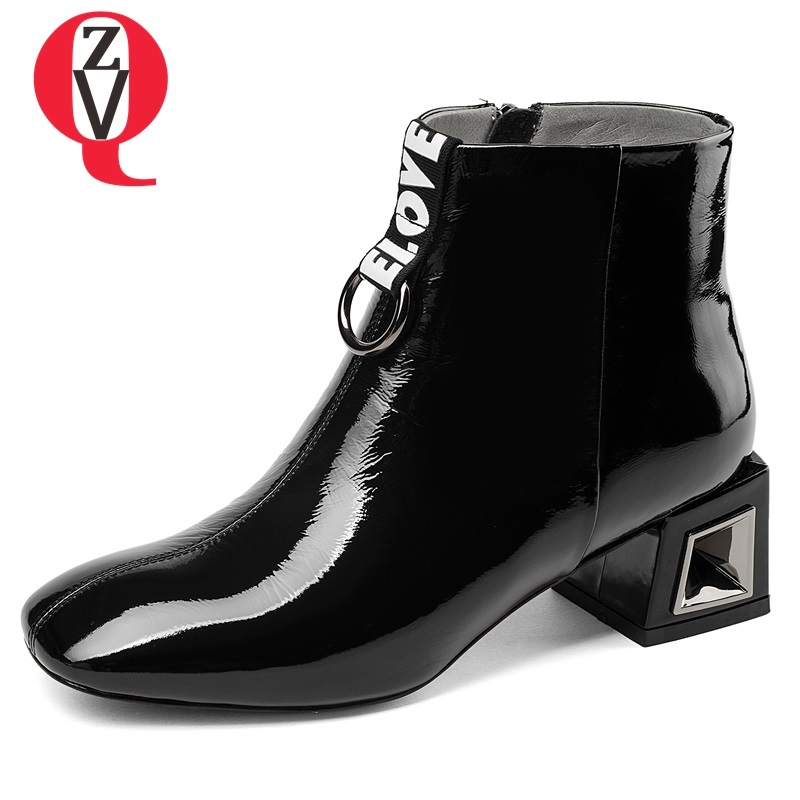 ZVQ new casual square toe zip patent leather women shoes heel height 5 cm black and white med square heel ankle boots size 33-43 free shipping 2016 summer patent leather square med heels sandals cover heel red black big size 33 40 41 42 43 woman shoes