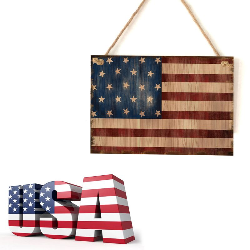 Image 5 - Vintage Wooden Hanging Plaque American Flag Sign Board Wall Door Home Decor Independence Day Party Gift-in Plaques & Signs from Home & Garden