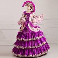 Lolita Medieval Renaissance Victorian Ball Gown Wedding Purple Dress Costume Hat