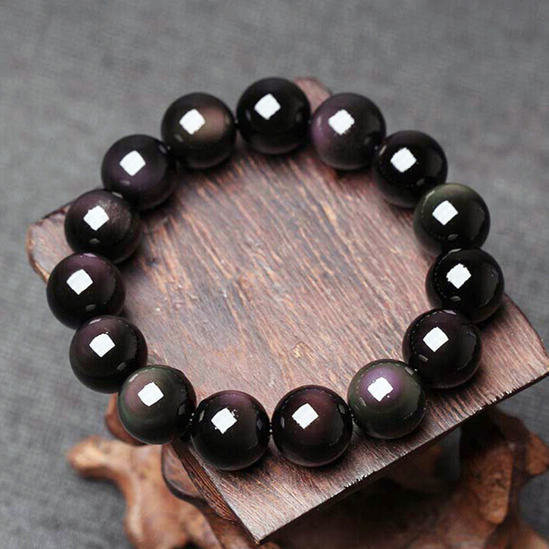 Natural Material Energy Stones Black Rainbow Eye Obsidian Bracelets Round Beads Bangle For Men Women Crystal Jewelry Love Gift in Bracelets Bangles from Jewelry Accessories