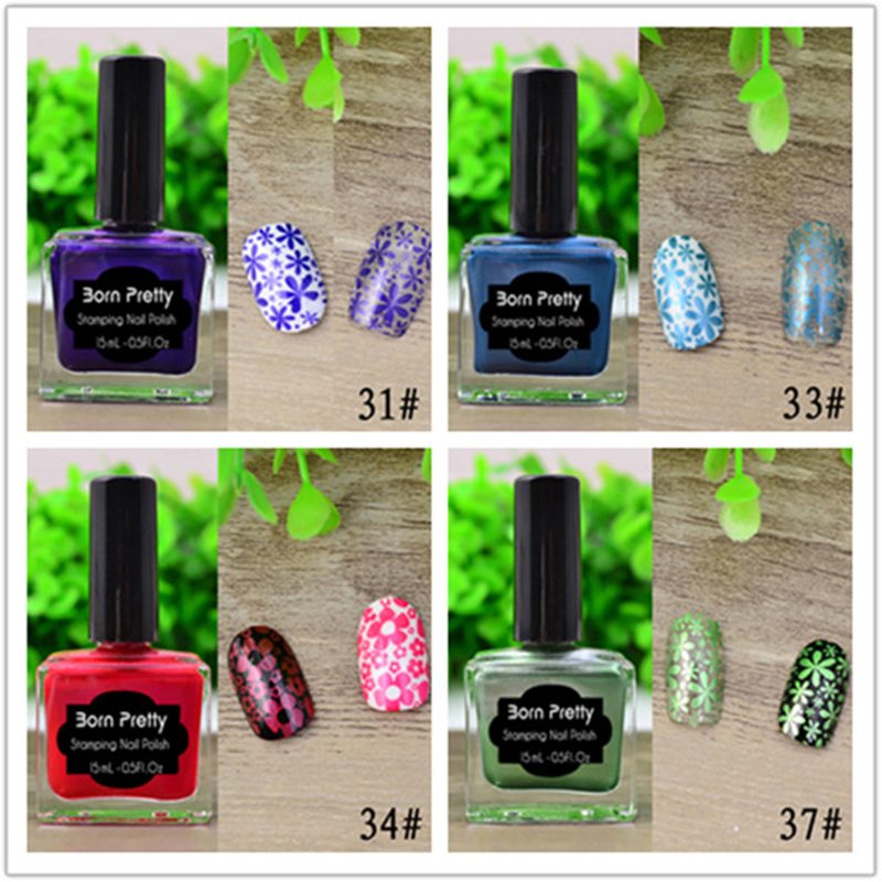HOT Sale 6 Bottles/Set 15ml Shimmer Born Pretty Stamping Polish Red Purple Blue 6 Colors Nail Art Varnish Stamping Nail born pretty 15ml colorful 6 bottles stamping polish manicure nail art printing polish for stamping plate diy nail decoration set