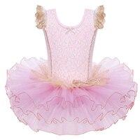 2017 New Kids Ballet Dancing Dress Gymnastics Dance Leotard Princes Dress Lace Bowknot Dress Tutu Skirt