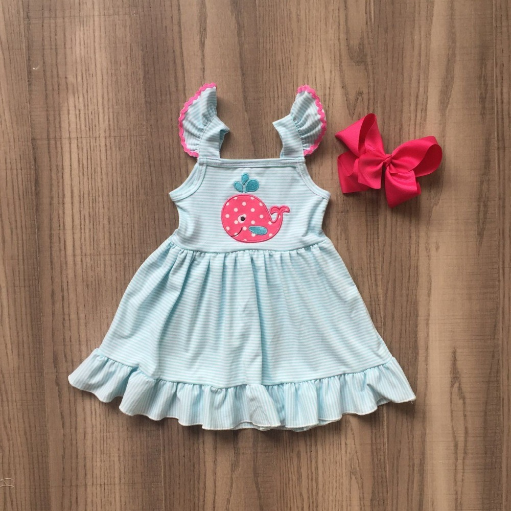 Hot New Arrival Baby Girls Spring Summer Dress Outfits Cotton PINK CUTE WHALE Dress Baby Children Boutique Dress With Bows