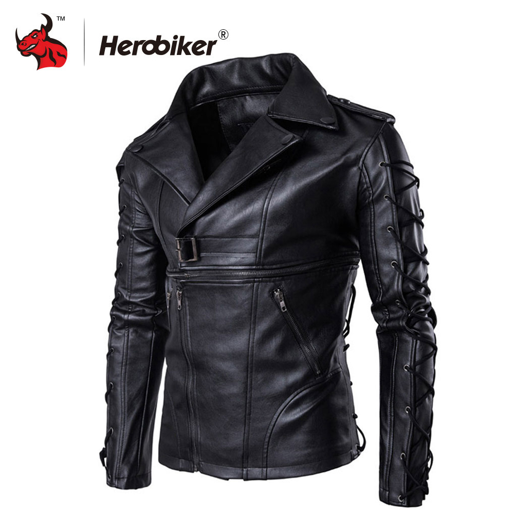 New Retro Motorcycle Jackets Men Moto Jackets Hip Hop Streetwear Biker Classic PU Leather Jackets Protective Gear Moto Clothing