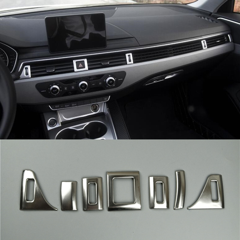 Dashboard Air Vent Decoration Frame Cover Stainless Steel AC Stickers Trim 7pcs For Audi A4 B9 2017 Interior Auto Accessories