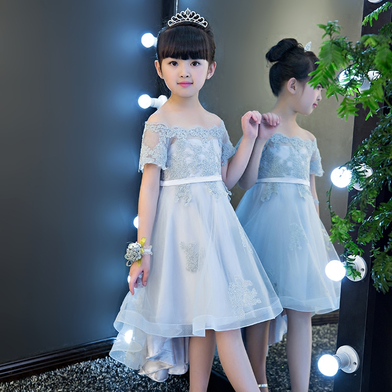 2017 New Arrival High Quality Girls Children Fashion Shoulderless Wedding Birthday Party Dress Kids Ball Gown Lace Costume Dress 2017 new high quality girls children white color princess dress kids baby birthday wedding party lace dress with bow knot design