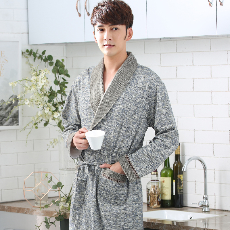 New Male Bathrobes Autumn Cotton Robes Long Sleeved Yukata Classy Men Pyama Mannen Peignoir Homme Badjas Kimono Male Bath Robe