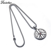 Fnixtar Stainless Steel Peace Sign Pendant Necklace For Men Jewelry Making Great Quality Red Rhinestones Necklace