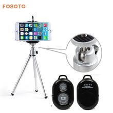 fosoto Adjustable Mini Tripod with Adjustable Phone Holder&Self Timer Bluetooth Wireless Remote Shutter 3 For Smartphone iPhone