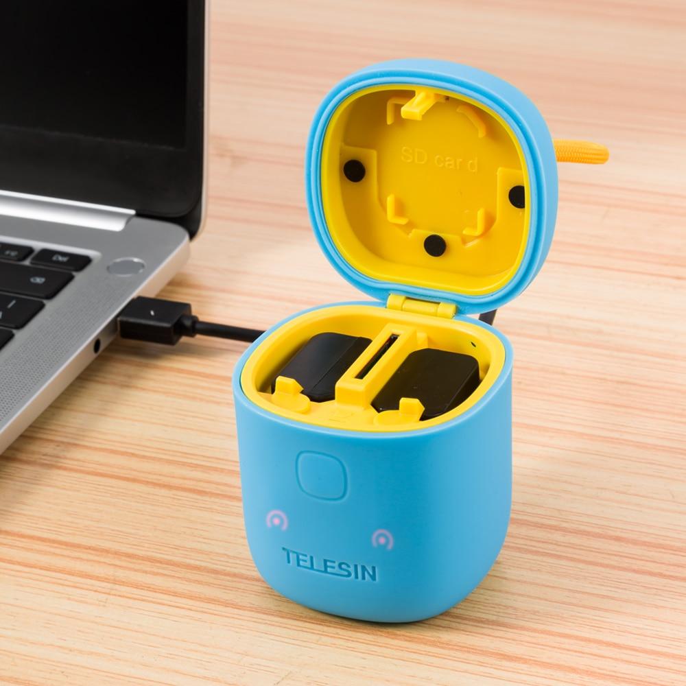 TELESIN アリンボックス 3in1 デュアル充電器、 Sd カードリーダー収納ケース + 2 個 NPW50 バッテリー A6000 、 a6500 、 A6300 、  グループ上の 家電製品 からの カメラ充電器 の中 2