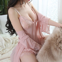 2017 New Arrival Lingerie Sexy Robe And Gown Set Femme Sleepwear Robe And Gown Evening Gown