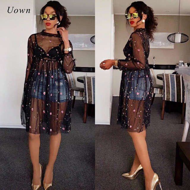 54b52883aa43 Black Sheer Mesh Dress Women Autumn 2018 Floral Embroidery Long Sleeve Knee  Length A Line Dress Sexy See Through Dress Clubwear