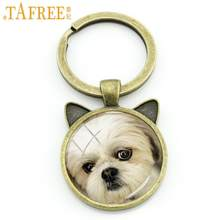 TAFREE fashion animal new keychain novelty Antique Bronze Plated cat ear key chain charms cartoon dog round Glass jewelry DG27(China)