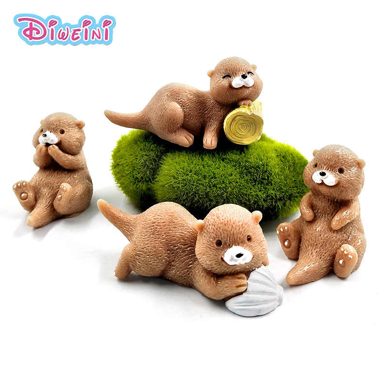 4pcs Artificial Resin Otters Model Animal action Figures home Garden Dollhouse Decoration DIY kids educational toys for children