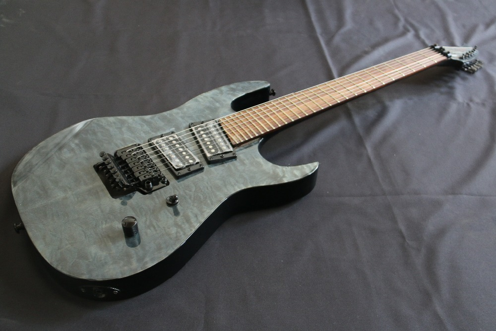 Flat Top AAAAA Quilted Maple Top Floydrose 7 String Electric guitar Guitarra all color Accept