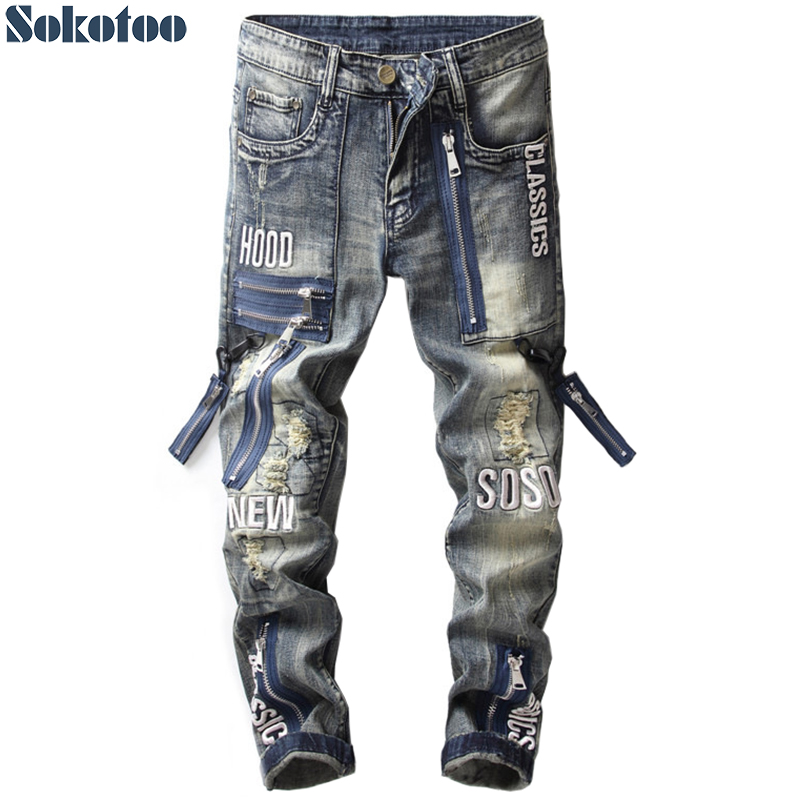 Sokotoo Men's vintage zippers patch ripped   jeans   Slim straight letters embroidery patchwork distressed denim pants