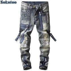 Sokotoo mannen vintage ritsen patch ripped jeans Slim straight letters borduren patchwork verontruste denim broek