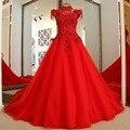 LS87003 modelos de vestidos de festa Vermelho 2017 lace up voltar mangas alta do pescoço de Uma linha frisado longo formal vestido de noite foto real