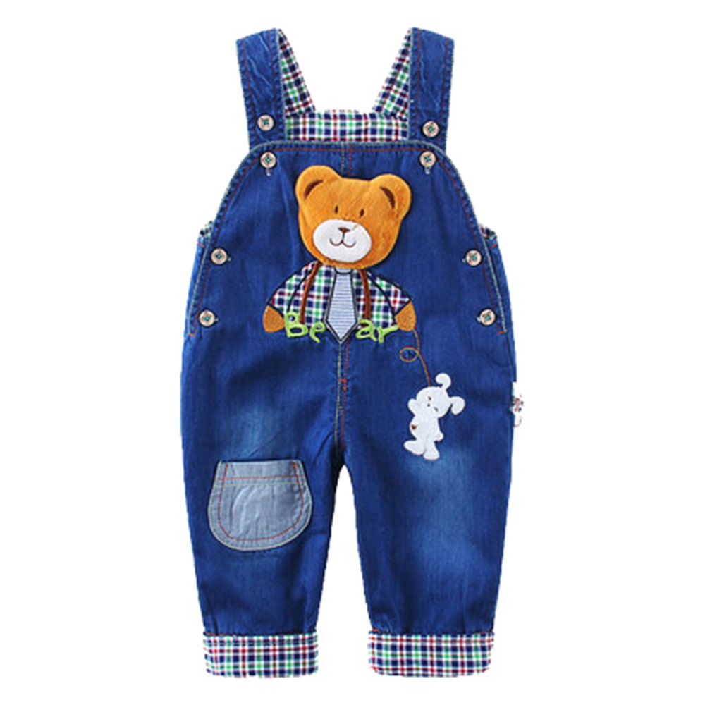 6M-3T Top Quality 100% Cotton Babe Boys Long Pants Overalls Baby Jumpsuit For Spring Summer Autumn Jeans Rompers Toddler Clothes girls jeans overalls for girl denim 2017 spring pocket jumpsuit bib pants children s hole jeans baby overall for kids 3 12 years