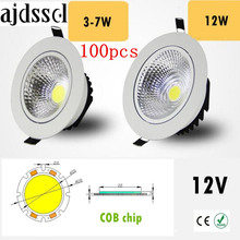 100PCS/lot Super Bright Recessed LED Dimmable Downlight COB 3W 5W 7W 12W Spot light decoration Ceiling Lamp AC/DC 12V