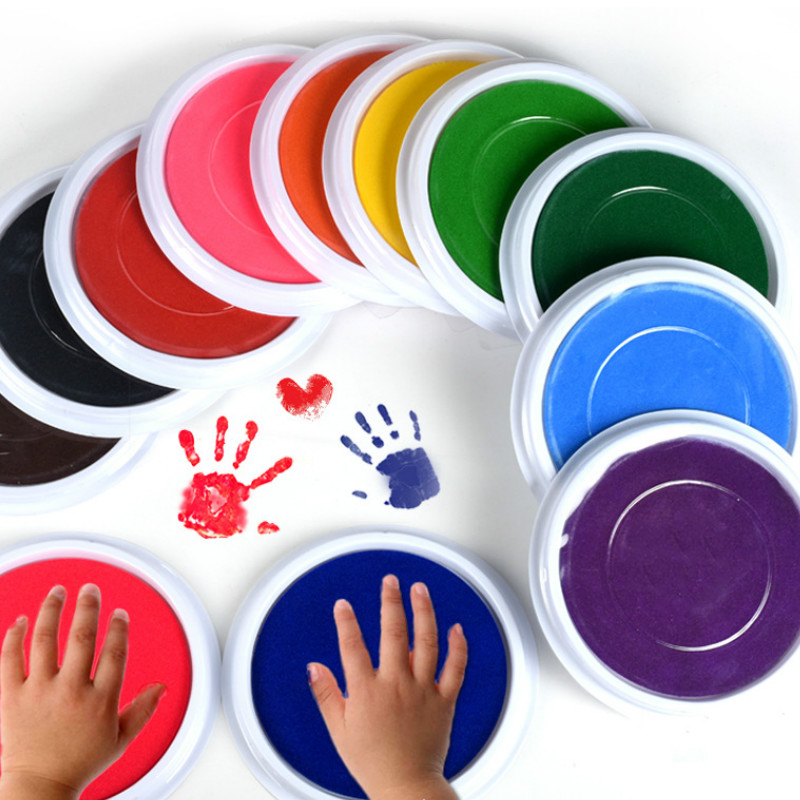 4Colors Hand Inkpad Fingerprint Baby Handprint Footprint Baby Care Air Drying Soft Clay Imprint Kit Casting Parent-child-20