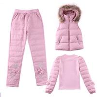 Зимние парки плотное пальто шт. костюмы модная Осенняя куртка для женщин Повседневное теплые Парка Basic жилет + брюки для девоч