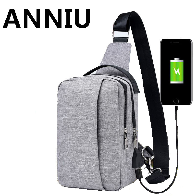Men Messenger Bags Crossbody Sling Shoulder bag Casual Male Chest Bags Both For Men And Women External USB Charge Travel Bags 2017 new men canvas chest bag pack casual crossbody sling messenger bags vintage male travel shoulder bag bolsas tranvel borse