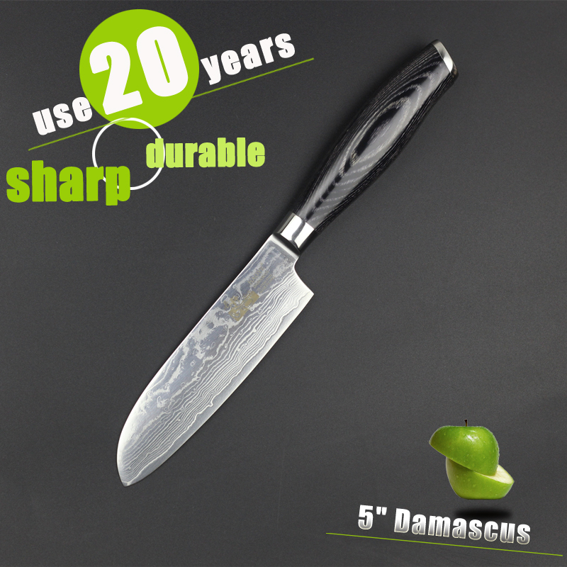 HAOYE 5 inch santoku knife Japanese damascus kitchen knife high quality vg10 stainless steel small paring fruit knife sharp image