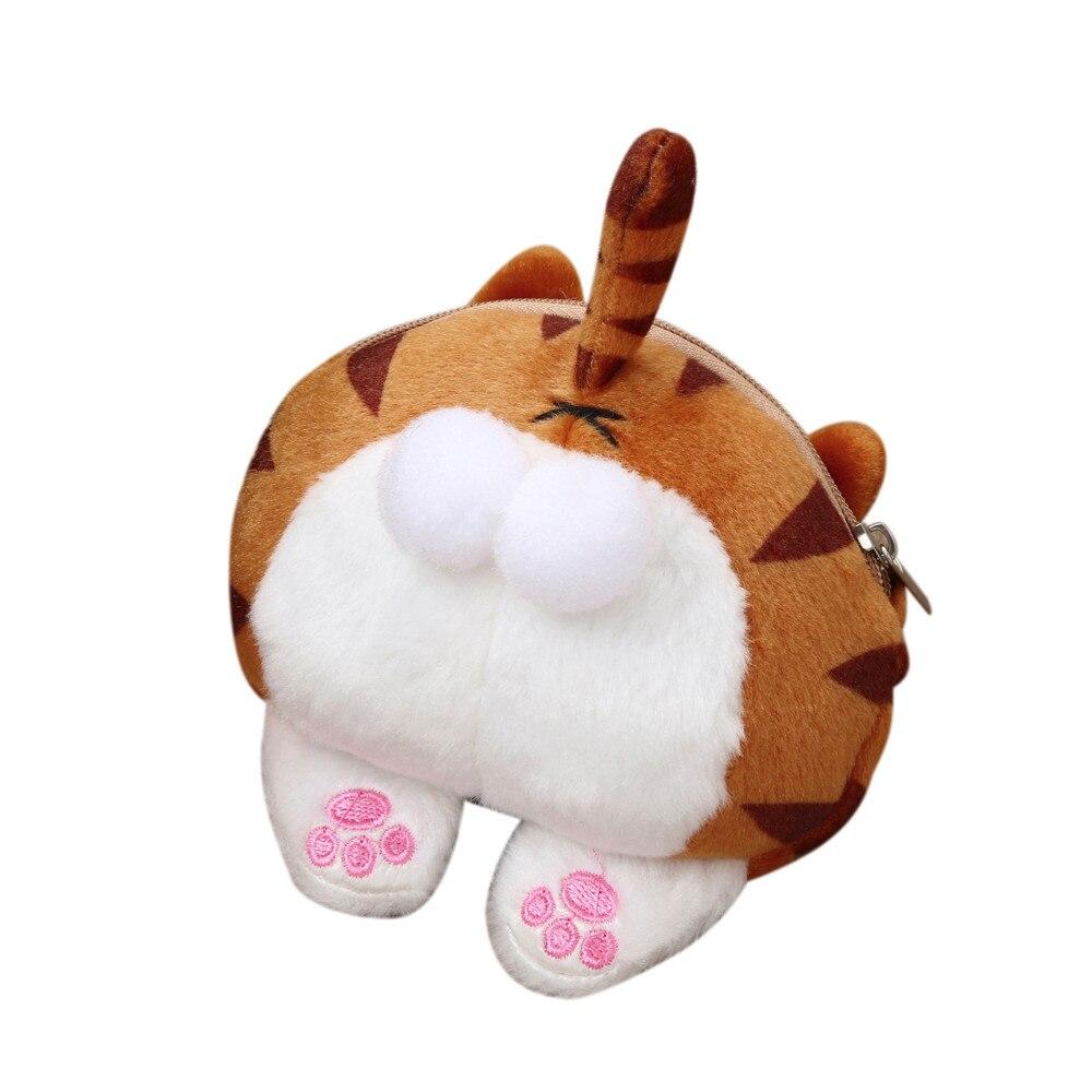 Womens Coin Bag Purses Cat Cute Butt Tail Plush Coin Purse Change Purse Bag Cartoon Versatile Drop Shipping Girl Zipper Bags A0