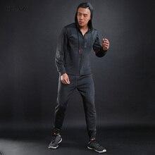Dlixzi бренд 2 шт. осень Худи спортивные костюмы мужские модные Повседневное спортивный костюм одежда с длинным рукавом на молнии шнурок пот Костюмы