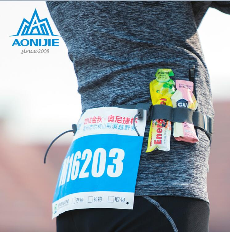 AONIJIE NEW Men Women Outdoor Triathlon Marathon Race Elastic Belts Running Reflective Number Belt Outdoor Sports