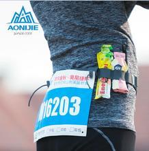 AONIJIE NEW Men Women Outdoor Triathlon Marathon Race Elastic Belts Running Reflective Number Belt Sports